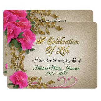 Celebration of life Invitation pink roses