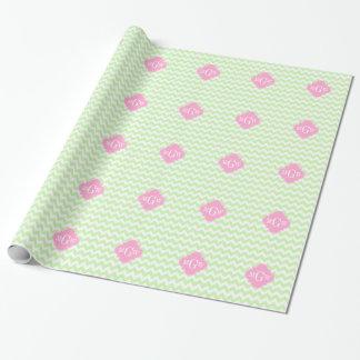 Celery Wht Chevron Pink Quatrefoil 3 Monogram Wrapping Paper