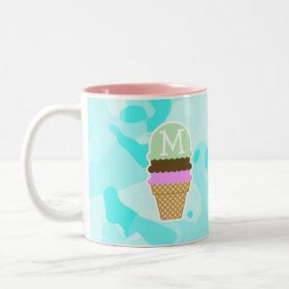 Celeste Camo; Ice Cream Cone Two-Tone Coffee Mug