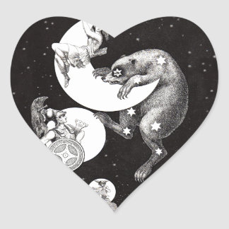 Celestial Moon Goddess Luna Ursa Major and Mars Heart Sticker