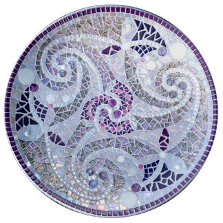 cell tic tops mosaic in purple glasses plate