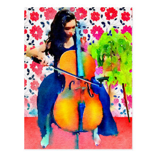 Cellist Watercolor Postcard
