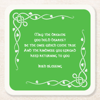 Celtic Braid - White and Green Irish Blessing (#1) Square Paper Coaster