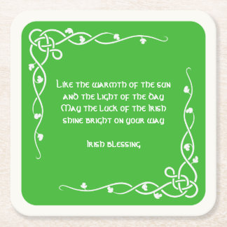 Celtic Braid - White and Green Irish Blessing (#2) Square Paper Coaster