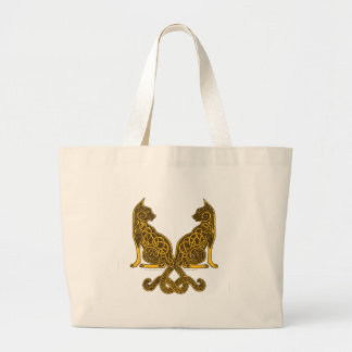 celtic cats 6 bronze gold large tote bag