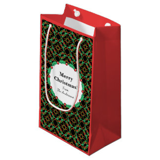 Celtic Christmas Holly Wreath Pattern Small Gift Bag