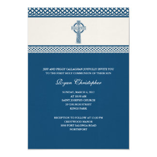 Celtic Cross First Holy Communion Invitation