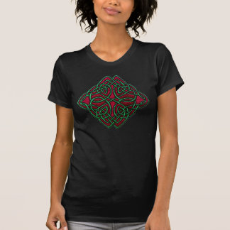 Celtic cross green and red embroidery T-Shirt