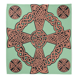 Celtic cross mint green peach knot bandana