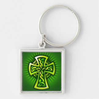 Celtic cross Silver-Colored square key ring