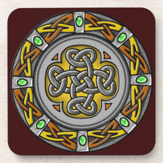 Celtic cross steel and leather coaster