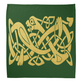 Celtic Irish Gold Snake on Dark Green Bandana