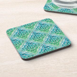 Celtic Knot - Diamond Tile Blue Green White Coaster