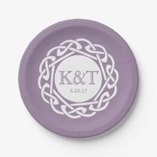 Celtic Knot Initials -  Wedding Plate Lilac 7 Inch Paper Plate