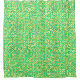 Celtic Knot Irish Braid Green Yellow Pattern Shower Curtain