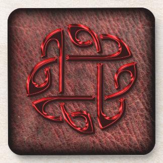 Celtic knot on genuine leather coaster