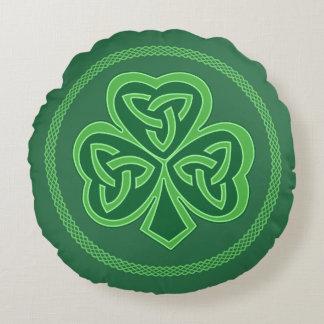 Celtic Knot Shamrock Round Cushion