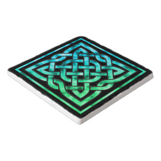 Celtic Knot - Square Blue Green Trivet