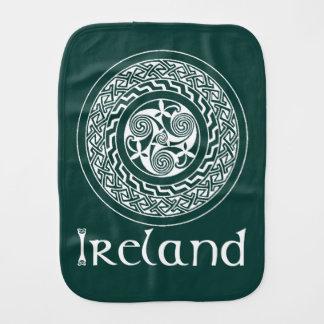 Celtic Knotwork Irish Medallion Pattern in Green Burp Cloth