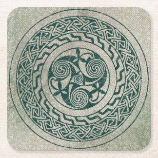 Celtic Knotwork Irish Medallion Pattern in Green Square Paper Coaster