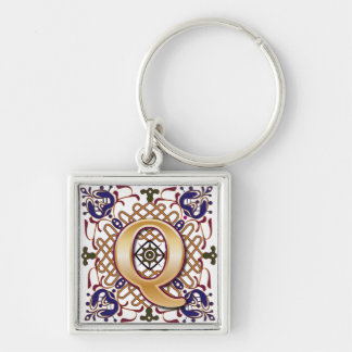Celtic Monogram Letter Q Silver-Colored Square Key Ring