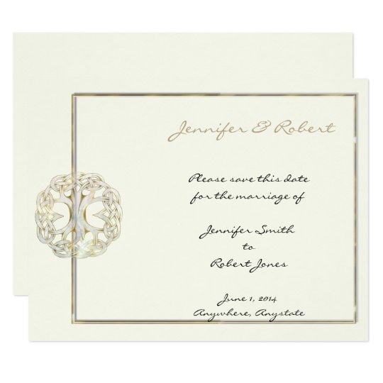 Tree Of Life Invitation Rsvp Celtic Life By: Celtic Tree Of Life Gold Save The Date Card