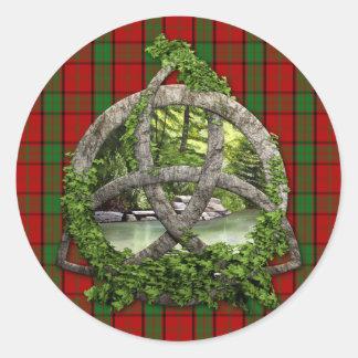 Celtic Trinity Knot And Clan Maxwell Tartan Classic Round Sticker