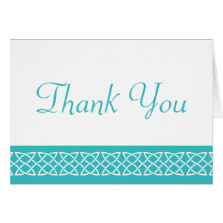 Celtic Weave Hearts in Turquoise Thank You Card