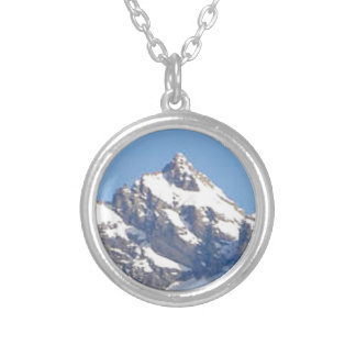 center peak in range silver plated necklace
