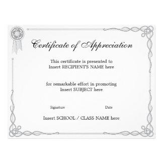 CERTIFICATE OF APPRECIATION 21.5 CM X 28 CM FLYER