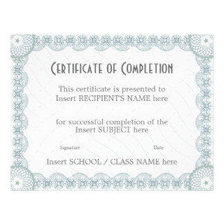 CERTIFICATE OF COMPLETION PERSONALIZED FLYER