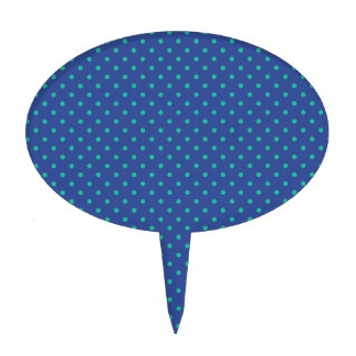 Cerulean Blue And Emerald Green Polka Dots Pattern Oval Cake Toppers