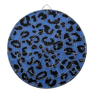 Cerulean Blue Leopard Animal Print Dartboard