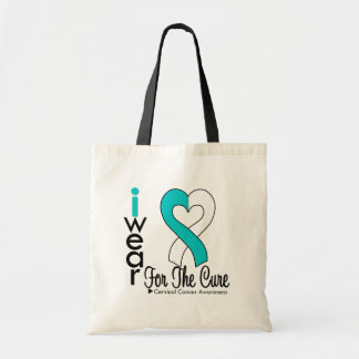 Cervical Cancer Ribbon For The Cure Budget Tote Bag