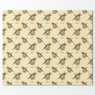 Chaffinch with leaf, vintage design. wrapping paper