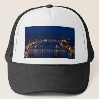 Chain bridge Hungary Budapest at night Trucker Hat