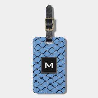 Chain Link Fence - Black & Blue Metal,  Monogram Luggage Tag