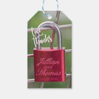 Chain Link Red Lovers Padlock Thanks and Love Gift Tags