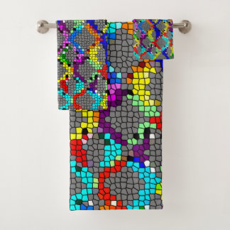 Chain Linked Stained Glass Bath Towel Set