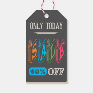 Chalk Board Super Sale Announcement Gift Tags