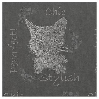 Chalk Drawing of Sleepy Black Cat Fabric