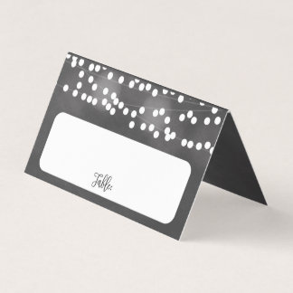 Chalk Hanging Lights Wedding Place Cards