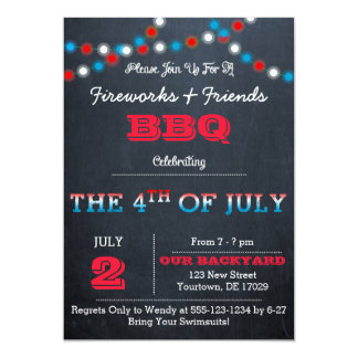Chalkboard 4th of July Party Invitations