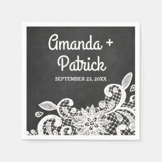 Chalkboard and Lace Country Rustic Wedding Napkins Paper Napkin