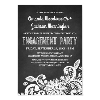 Chalkboard and Lace Engagement Party Invitations