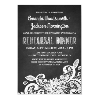 Chalkboard and Lace Rehearsal Dinner Invitations