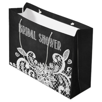 Chalkboard and Lace Rustic Bridal Shower Gift Bag