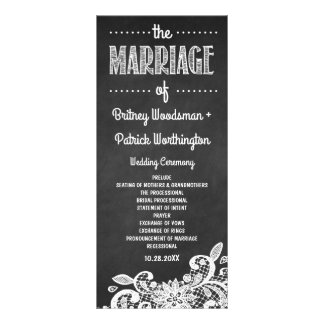 Chalkboard and Lace Rustic Wedding Programs Rack Card Template
