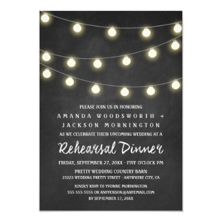 Chalkboard and Lights Rehearsal Dinner Invitations