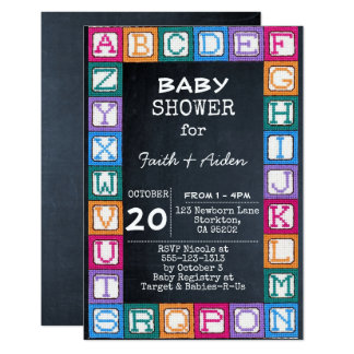 Chalkboard Baby Blocks Shower Invitation